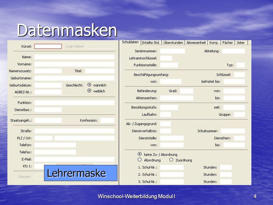 Winschool-Weiterbildung Modul I15 Jokermaske Jokermasken dienen zum Ergänzen des Datenbestandes, sie können individuell angepasst werden Jokermasken dienen zum Ergänzen des Datenbestandes, sie können individuell angepasst werden System | Jokersetup | Einrichten System | Jokersetup | Einrichten Auswahl des Datensatzes: Schülerdaten Auswahl des Datensatzes: Schülerdaten Anlegen einer neuen Rubrik: Fahrrad / Fah Anlegen einer neuen Rubrik: Fahrrad / Fah