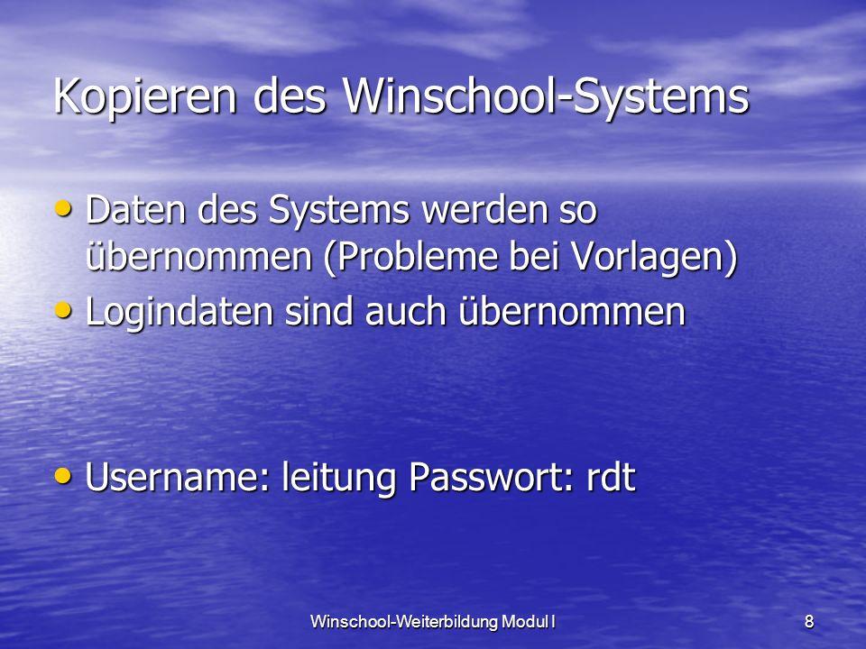 Winschool-Weiterbildung Modul I8 Kopieren des Winschool-Systems Daten des Systems werden so übernommen (Probleme bei Vorlagen) Daten des Systems werden so übernommen (Probleme bei Vorlagen) Logindaten sind auch übernommen Logindaten sind auch übernommen Username: leitung Passwort: rdt Username: leitung Passwort: rdt