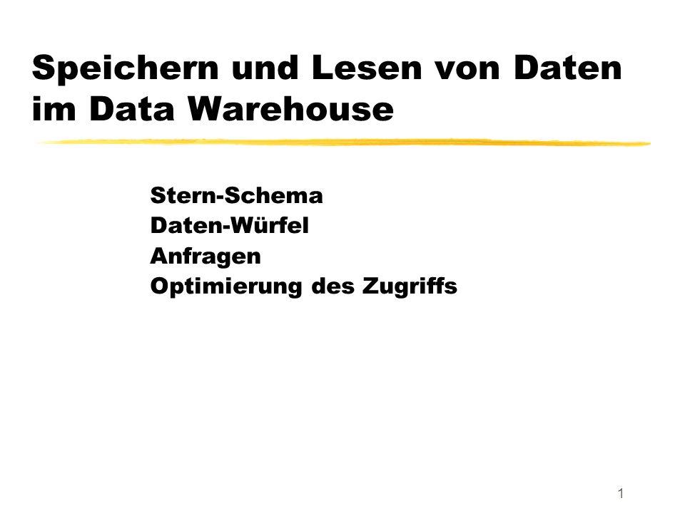 Data Warehouses22 Wiederverwendung von Teil-Aggregaten insert into VerkäufeProduktFilialeJahr ( select v.Produkt, v.Filiale, z.Jahr, sum(v.Anzahl) from Verkäufe v, Zeit z where v.VerkDatum = z.Datum group by v.Produkt, v.Filiale, z.Jahr ); select v.Produkt, v.Filiale, sum(v.Anzahl) from Verkäufe v group by v.Produkt, v.Filiale