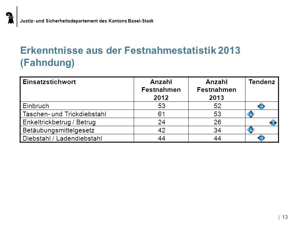 Justiz- und Sicherheitsdepartement des Kantons Basel-Stadt |13 Erkenntnisse aus der Festnahmestatistik 2013 (Fahndung) EinsatzstichwortAnzahl Festnahm