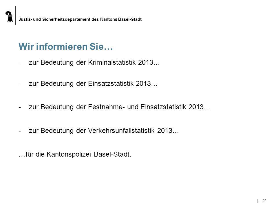 Justiz- und Sicherheitsdepartement des Kantons Basel-Stadt  13 Erkenntnisse aus der Festnahmestatistik 2013 (Fahndung) EinsatzstichwortAnzahl Festnahmen 2012 Anzahl Festnahmen 2013 Tendenz Einbruch5352 Taschen- und Trickdiebstahl6153 Enkeltrickbetrug / Betrug2426 Betäubungsmittelgesetz4234 Diebstahl / Ladendiebstahl44