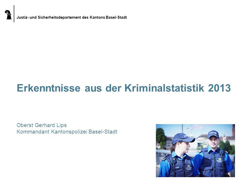 Justiz- und Sicherheitsdepartement des Kantons Basel-Stadt  4 4 Erkenntnisse aus der Kriminalstatistik 2013 Rückgang StGB gesamt zu 2012 (aber höher als 2008 – 2011) - 11% Anstieg AuG zu 2012+ 29% Schwere Körperverletzung14/28+ 100% Diebstahl ohne Fz gesamt - davon Einbruchdiebstahl - davon Entreissdiebstahl 10772/9728 2048/1608 71/92 - 10% - 21% + 30% Raub238/205- 14% Taschendiebstahl1471/971- 34% Fahrzeugdiebstahl3519/2818- 20% Gewalt und Drohung gegen Beamte162/214+ 32%