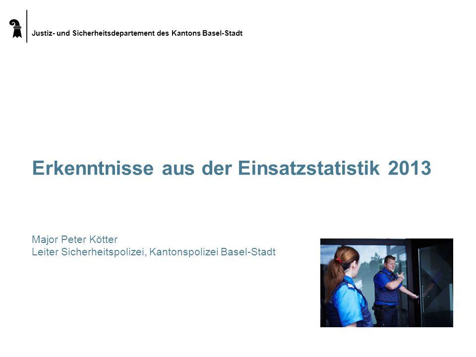 Justiz- und Sicherheitsdepartement des Kantons Basel-Stadt Erkenntnisse aus der Einsatzstatistik 2013 Major Peter Kötter Leiter Sicherheitspolizei, Ka