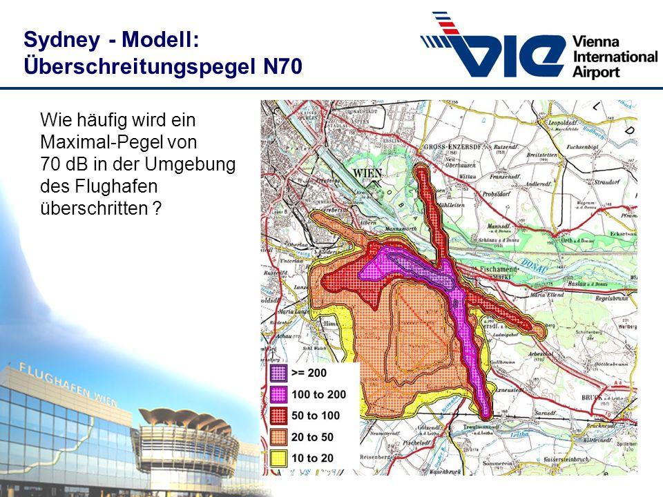 Sydney - Modell: Überschreitungspegel N70 Wie häufig wird ein Maximal-Pegel von 70 dB in der Umgebung des Flughafen überschritten ?