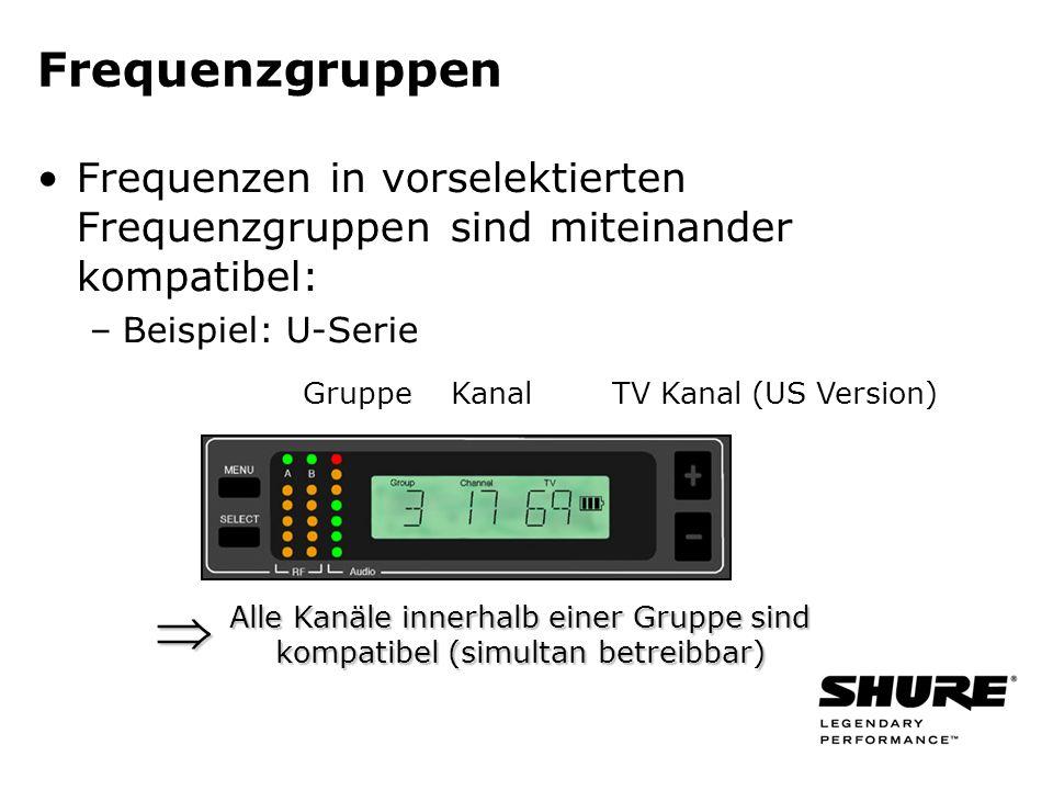 GruppeKanalTV Kanal (US Version) Frequenzgruppen Frequenzen in vorselektierten Frequenzgruppen sind miteinander kompatibel: –Beispiel: U-Serie Alle Ka