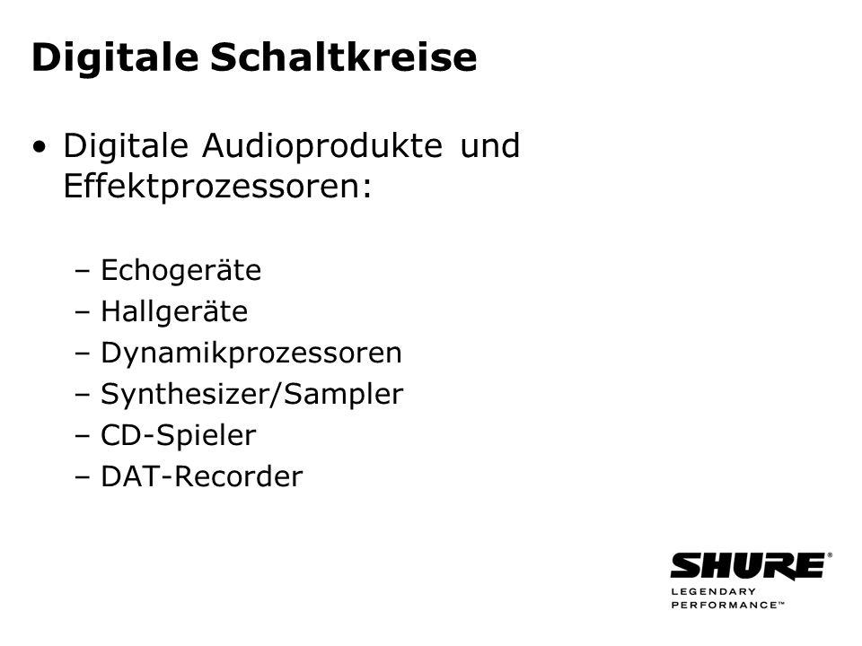 Digitale Schaltkreise Digitale Audioprodukte und Effektprozessoren: –Echogeräte –Hallgeräte –Dynamikprozessoren –Synthesizer/Sampler –CD-Spieler –DAT-Recorder