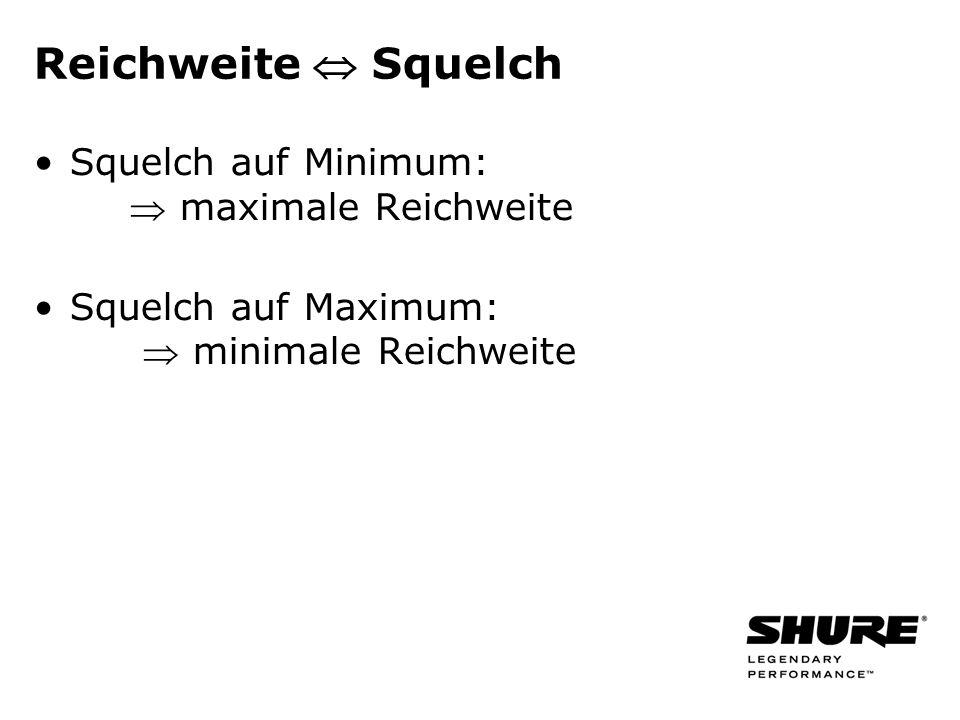 Reichweite Squelch Squelch auf Minimum: maximale Reichweite Squelch auf Maximum: minimale Reichweite