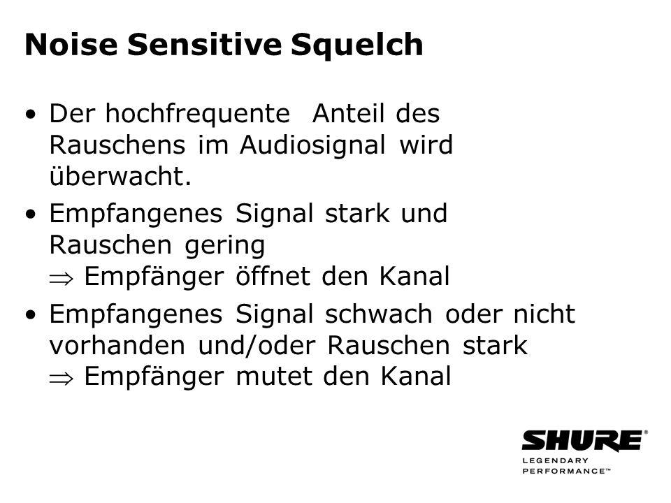 Noise Sensitive Squelch Der hochfrequente Anteil des Rauschens im Audiosignal wird überwacht. Empfangenes Signal stark und Rauschen gering Empfänger ö