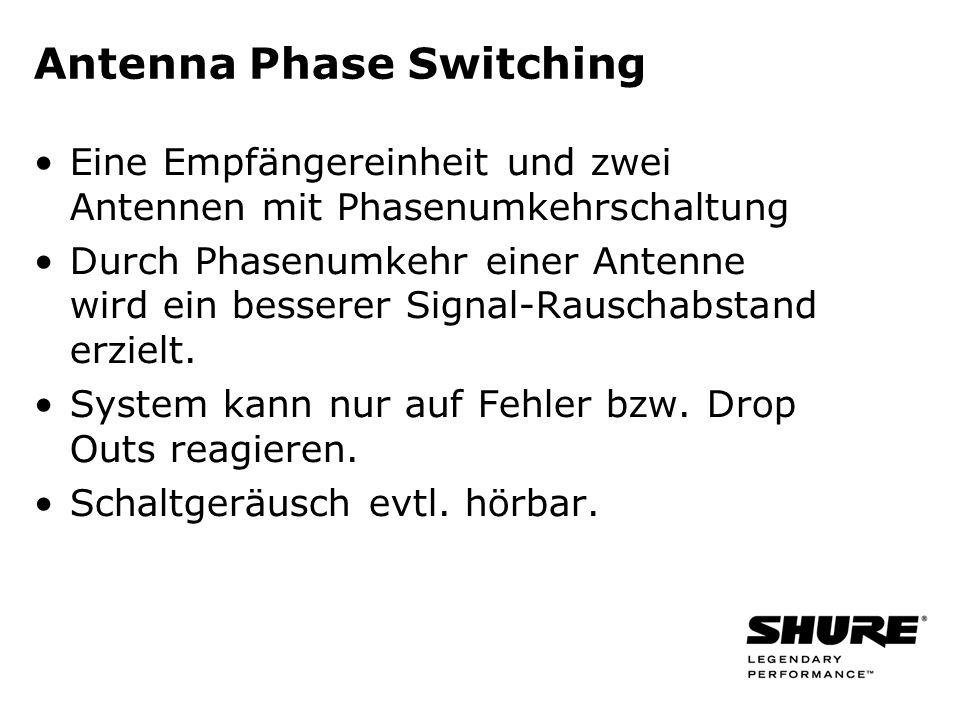 Antenna Phase Switching Eine Empfängereinheit und zwei Antennen mit Phasenumkehrschaltung Durch Phasenumkehr einer Antenne wird ein besserer Signal-Ra