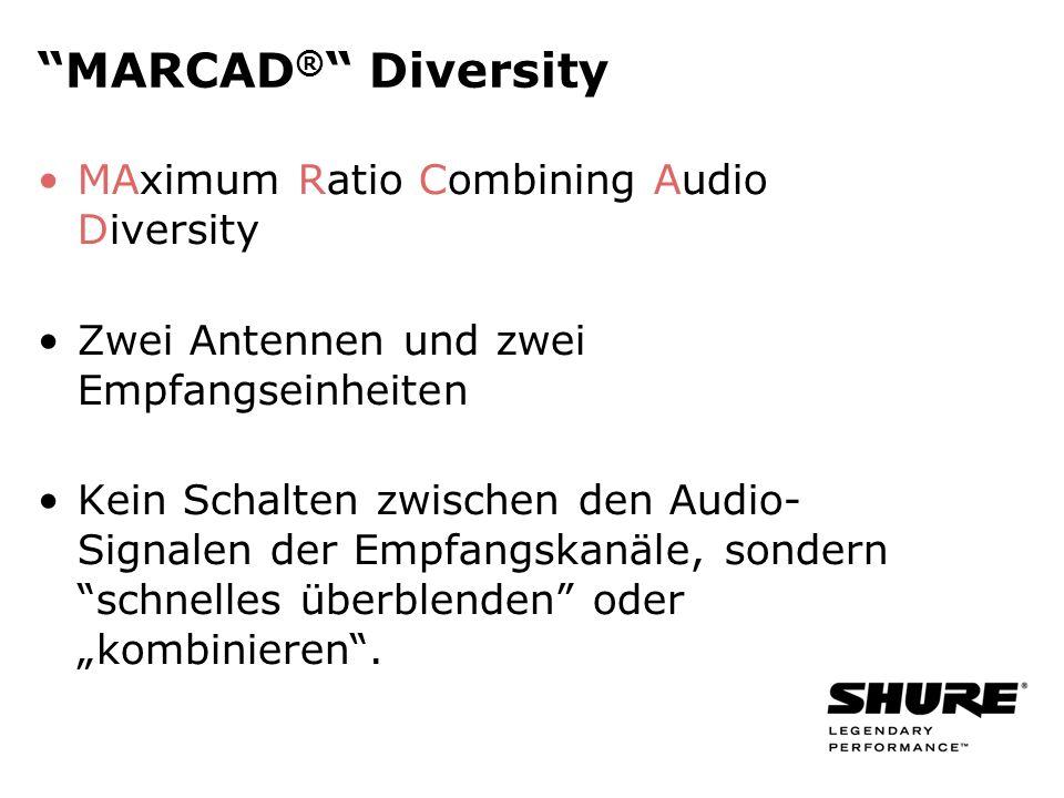 MARCAD ® Diversity MAximum Ratio Combining Audio Diversity Zwei Antennen und zwei Empfangseinheiten Kein Schalten zwischen den Audio- Signalen der Empfangskanäle, sondern schnelles überblenden oder kombinieren.