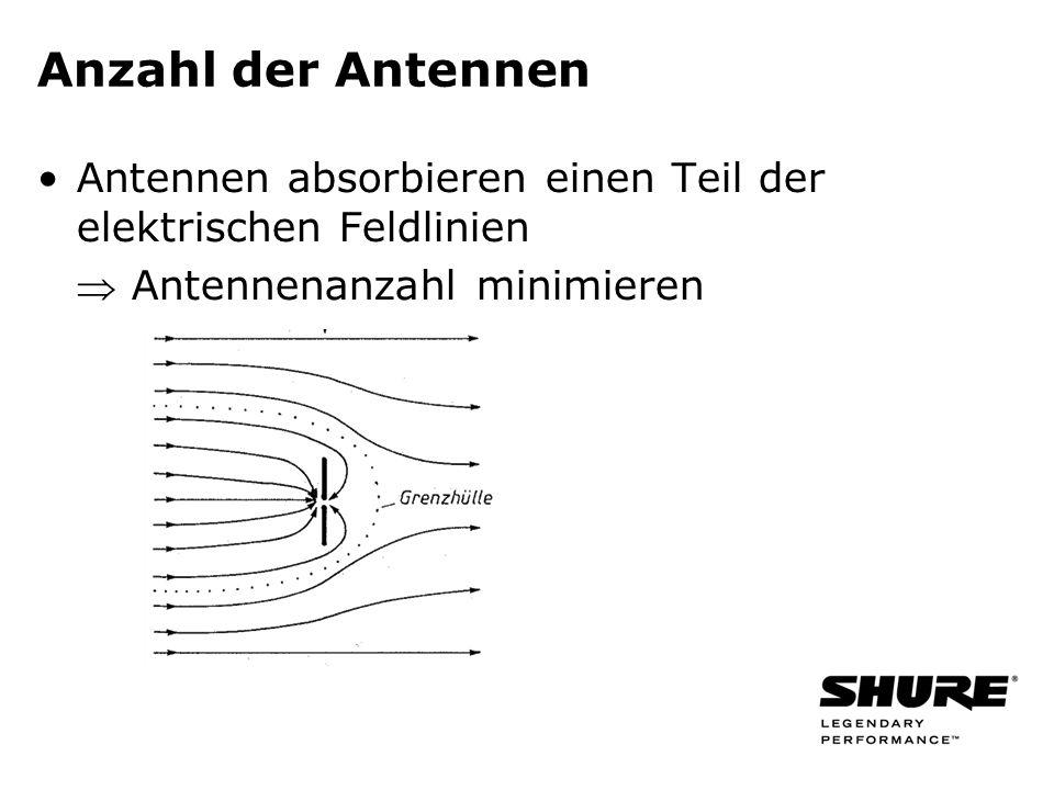 Anzahl der Antennen Antennen absorbieren einen Teil der elektrischen Feldlinien Antennenanzahl minimieren