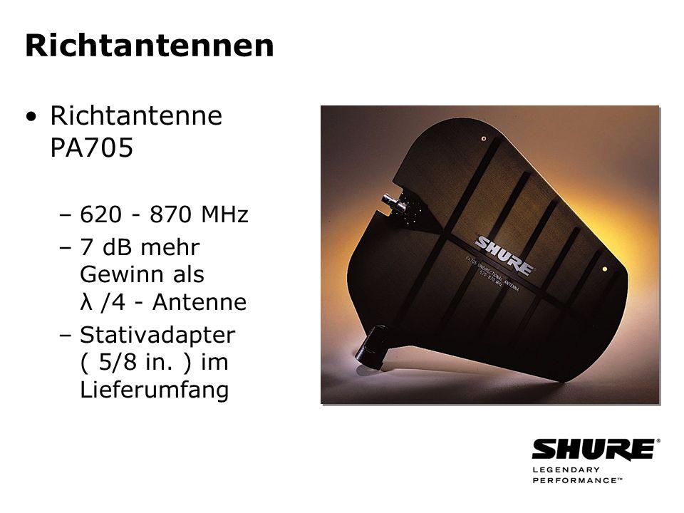 Richtantennen Richtantenne PA705 –620 - 870 MHz –7 dB mehr Gewinn als λ /4 - Antenne –Stativadapter ( 5/8 in. ) im Lieferumfang