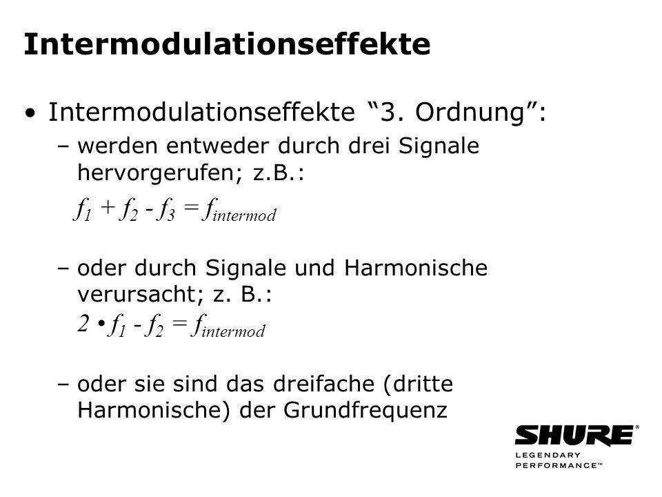 2 f 1 2 f 1 (Harmonische) 2 f 2 2 f 2 (Harmonische) f 1 + f 2 f 1 + f 2 (Summe) f 1 - f 2 f 1 - f 2 (Differenz) Intermodulation 2.Ordnung Berechnung der Intermodulationen zweiter Ordnung bei zwei Frequenzen: