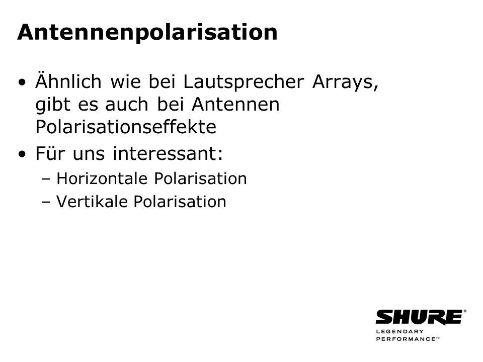 Antennenpolarisation Ähnlich wie bei Lautsprecher Arrays, gibt es auch bei Antennen Polarisationseffekte Für uns interessant: –Horizontale Polarisatio