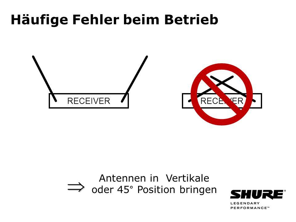 RECEIVER Antennen in Vertikale oder 45° Position bringen