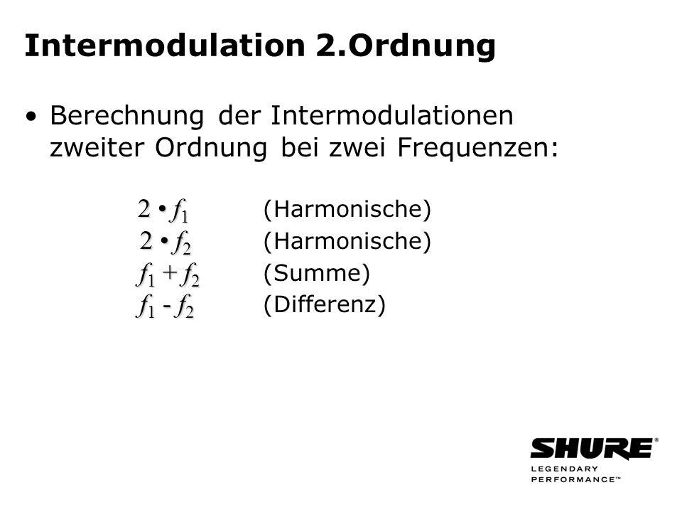 2 f 1 2 f 1 (Harmonische) 2 f 2 2 f 2 (Harmonische) f 1 + f 2 f 1 + f 2 (Summe) f 1 - f 2 f 1 - f 2 (Differenz) Intermodulation 2.Ordnung Berechnung d