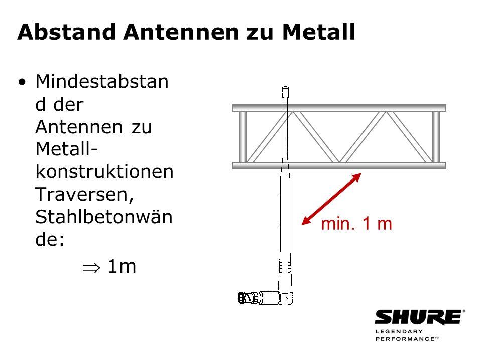 Abstand Antennen zu Metall Mindestabstan d der Antennen zu Metall- konstruktionen Traversen, Stahlbetonwän de: 1m min. 1 m
