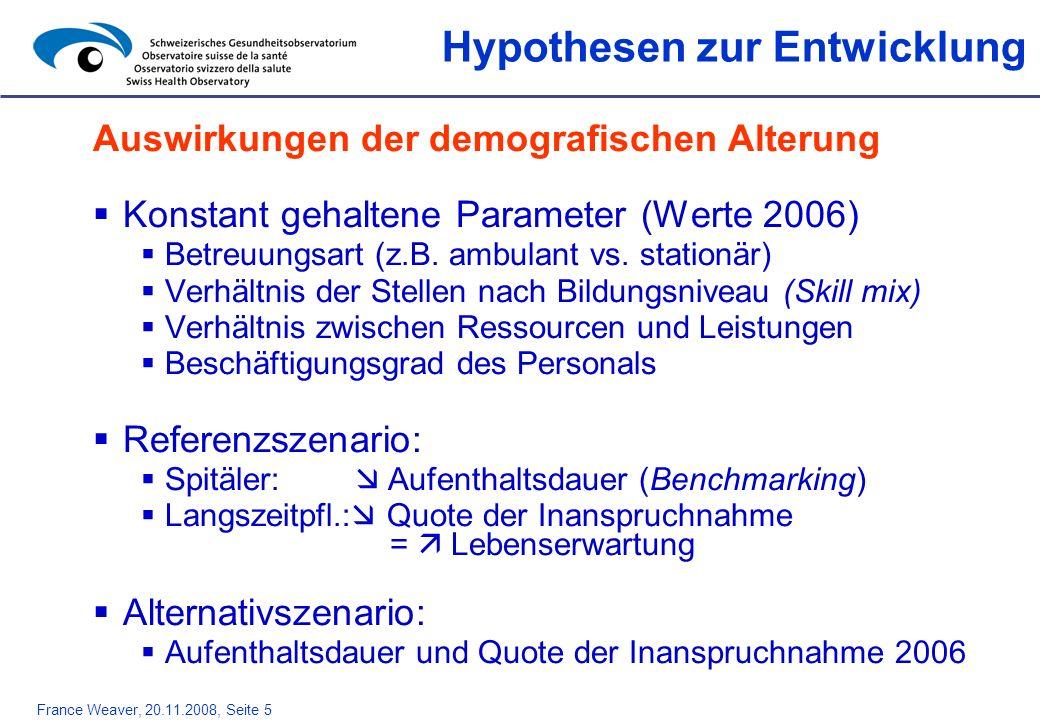 France Weaver, 20.11.2008, Seite 5 Auswirkungen der demografischen Alterung Konstant gehaltene Parameter (Werte 2006) Betreuungsart (z.B. ambulant vs.