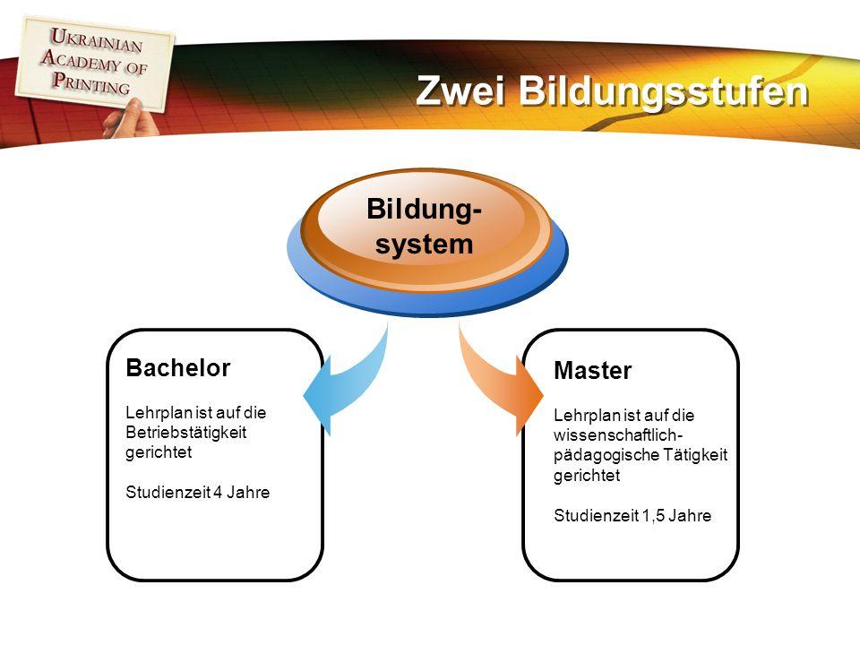 Zwei Bildungsstufen Bachelor Lehrplan ist auf die Betriebstätigkeit gerichtet Studienzeit 4 Jahre Bildung- system Master Lehrplan ist auf die wissenschaftlich- pädagogische Tätigkeit gerichtet Studienzeit 1,5 Jahre