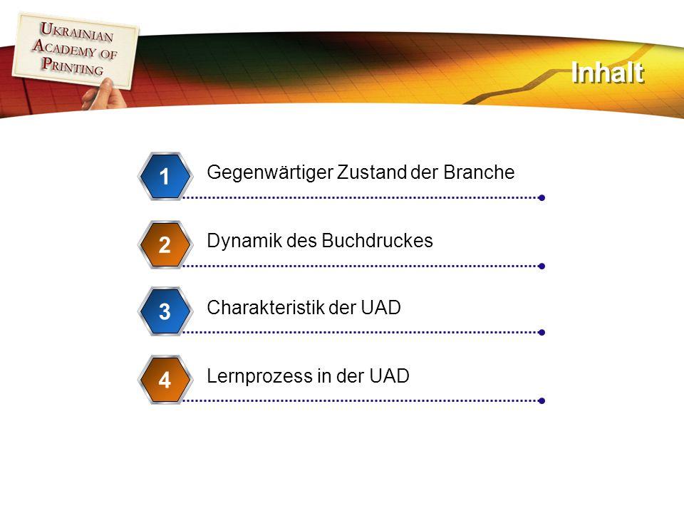 Inhalt Gegenwärtiger Zustand der Branche 1 Dynamik des Buchdruckes 2 Charakteristik der UAD 3 Lernprozess in der UAD 4