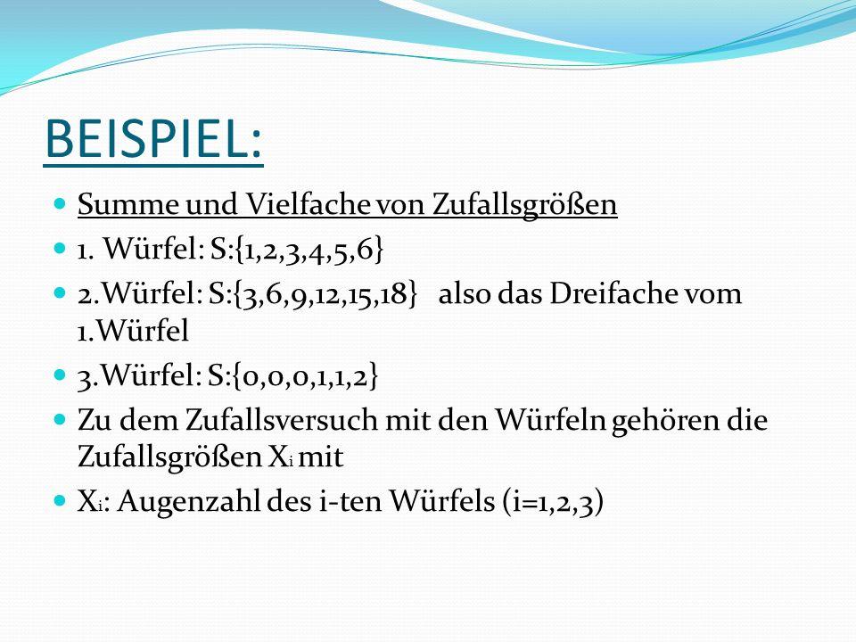 BEISPIEL: Summe und Vielfache von Zufallsgrößen 1.