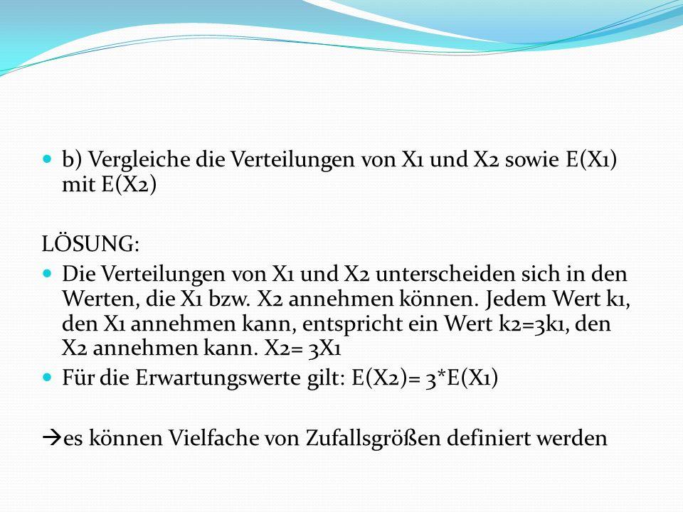 b) Vergleiche die Verteilungen von X1 und X2 sowie E(X1) mit E(X2) LÖSUNG: Die Verteilungen von X1 und X2 unterscheiden sich in den Werten, die X1 bzw.
