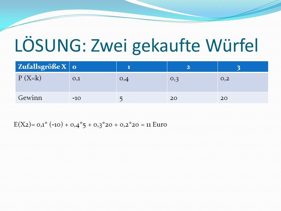LÖSUNG: Zwei gekaufte Würfel Zufallsgröße X0 1 2 3 P (X=k)0,10,40,30,2 Gewinn-10520 E(X2)= 0,1* (-10) + 0,4*5 + 0,3*20 + 0,2*20 = 11 Euro