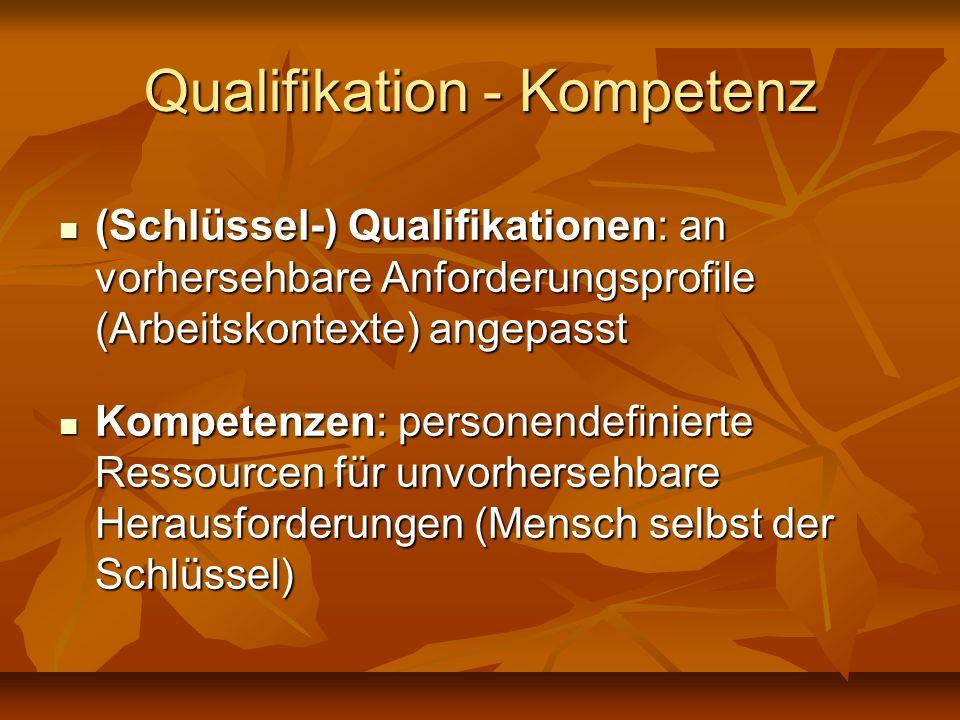 Qualifikation - Kompetenz (Schlüssel-) Qualifikationen: an vorhersehbare Anforderungsprofile (Arbeitskontexte) angepasst (Schlüssel-) Qualifikationen: