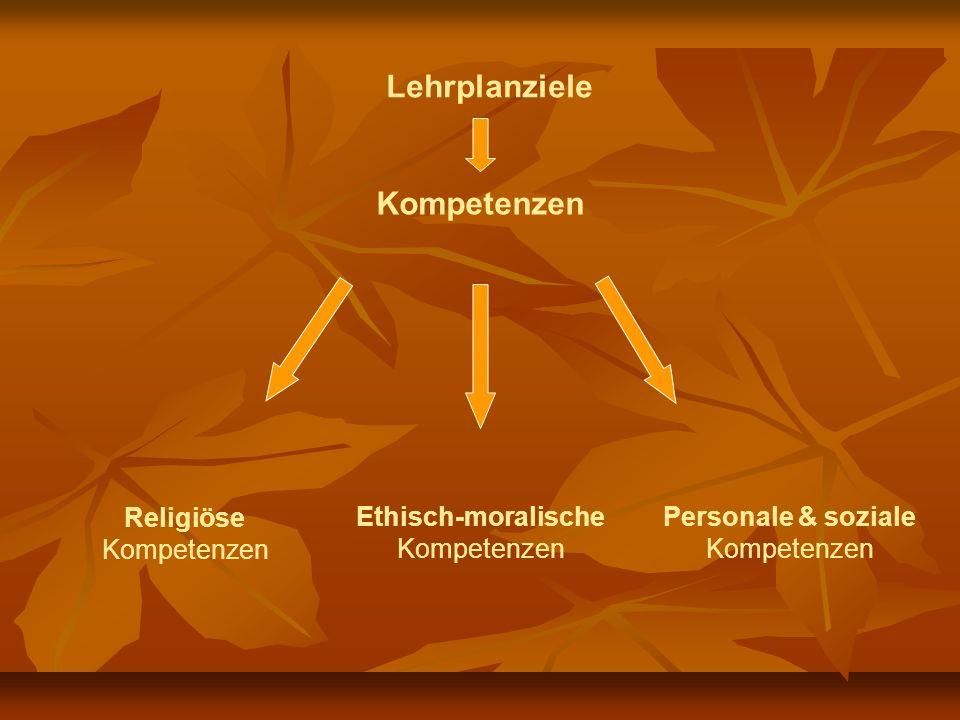 Lehrplanziele Kompetenzen Religiöse Kompetenzen Ethisch-moralische Kompetenzen Personale & soziale Kompetenzen