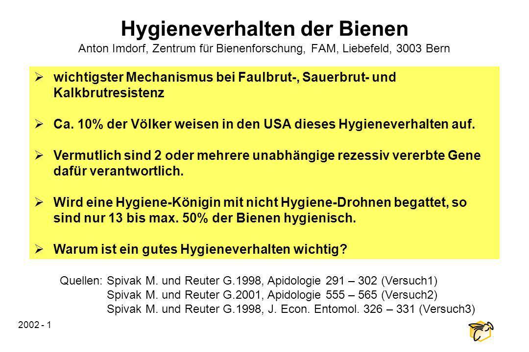2002 - 1 Hygieneverhalten der Bienen Anton Imdorf, Zentrum für Bienenforschung, FAM, Liebefeld, 3003 Bern wichtigster Mechanismus bei Faulbrut-, Sauer