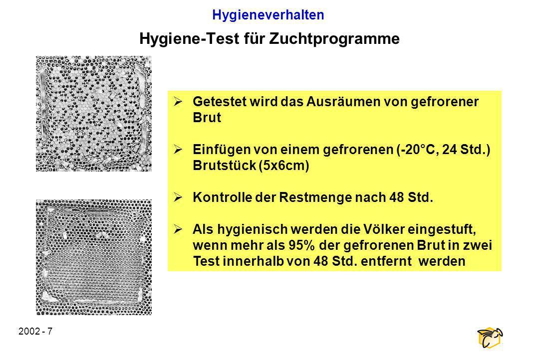 2002 - 7 Hygiene-Test für Zuchtprogramme Getestet wird das Ausräumen von gefrorener Brut Einfügen von einem gefrorenen (-20°C, 24 Std.) Brutstück (5x6
