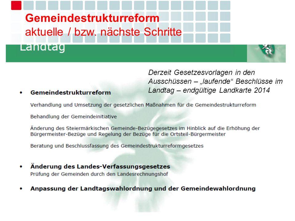 Gemeindestrukturreform aktuelle / bzw. nächste Schritte Derzeit Gesetzesvorlagen in den Ausschüssen – laufende Beschlüsse im Landtag – endgültige Land