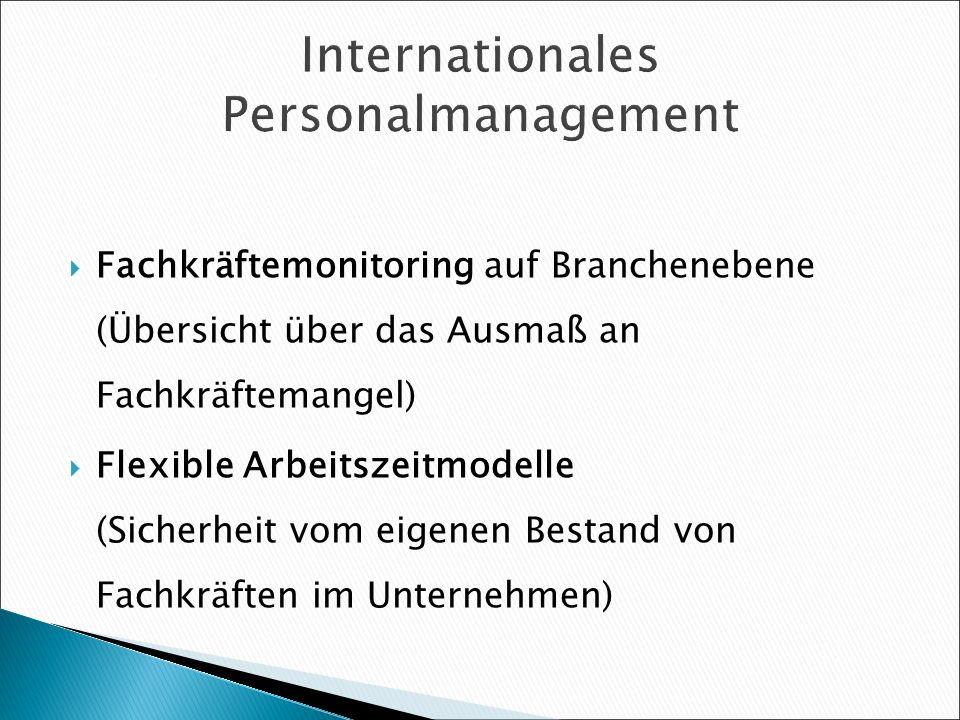 Internationales Personalmanagement Fachkräftemonitoring auf Branchenebene (Übersicht über das Ausmaß an Fachkräftemangel) Flexible Arbeitszeitmodelle