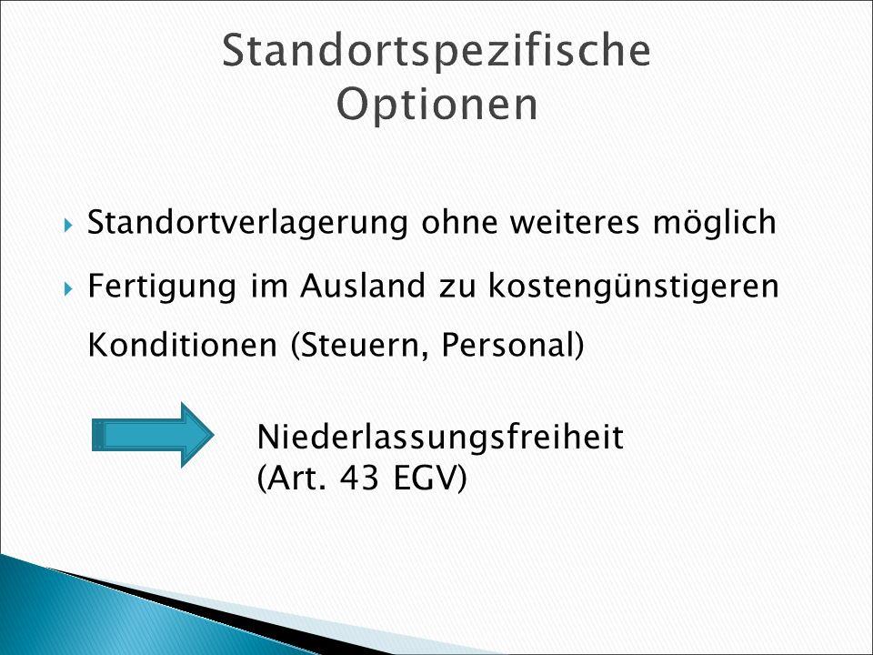 Standortspezifische Optionen Standortverlagerung ohne weiteres möglich Fertigung im Ausland zu kostengünstigeren Konditionen (Steuern, Personal) Niede