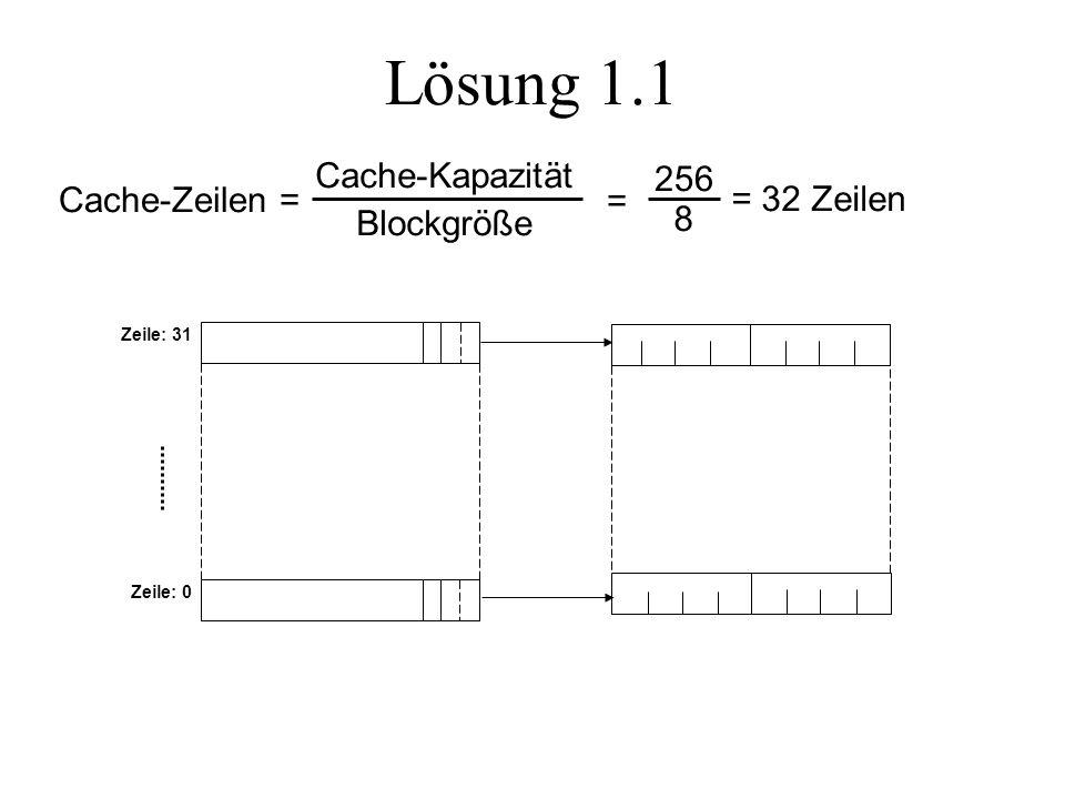 Lösung 1.1 Cache-Zeilen = Cache-Kapazität Blockgröße = 8 256 = 32 Zeilen Zeile: 31 Zeile: 0