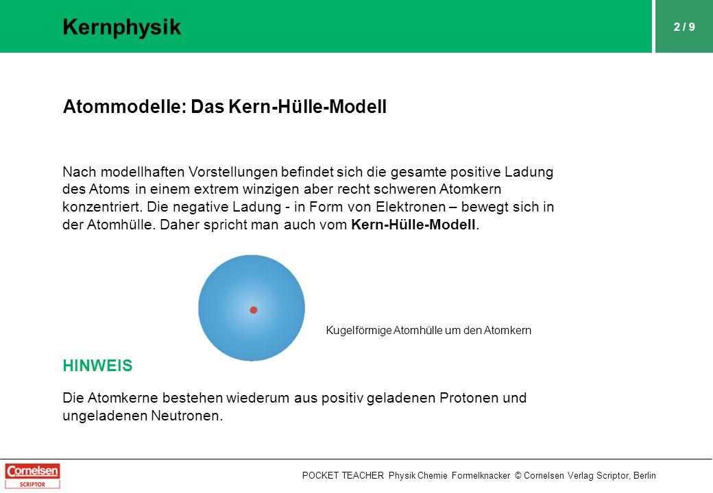 2 / 9 Kernphysik POCKET TEACHER Physik Chemie Formelknacker © Cornelsen Verlag Scriptor, Berlin Atommodelle: Das Kern-Hülle-Modell Nach modellhaften Vorstellungen befindet sich die gesamte positive Ladung des Atoms in einem extrem winzigen aber recht schweren Atomkern konzentriert.