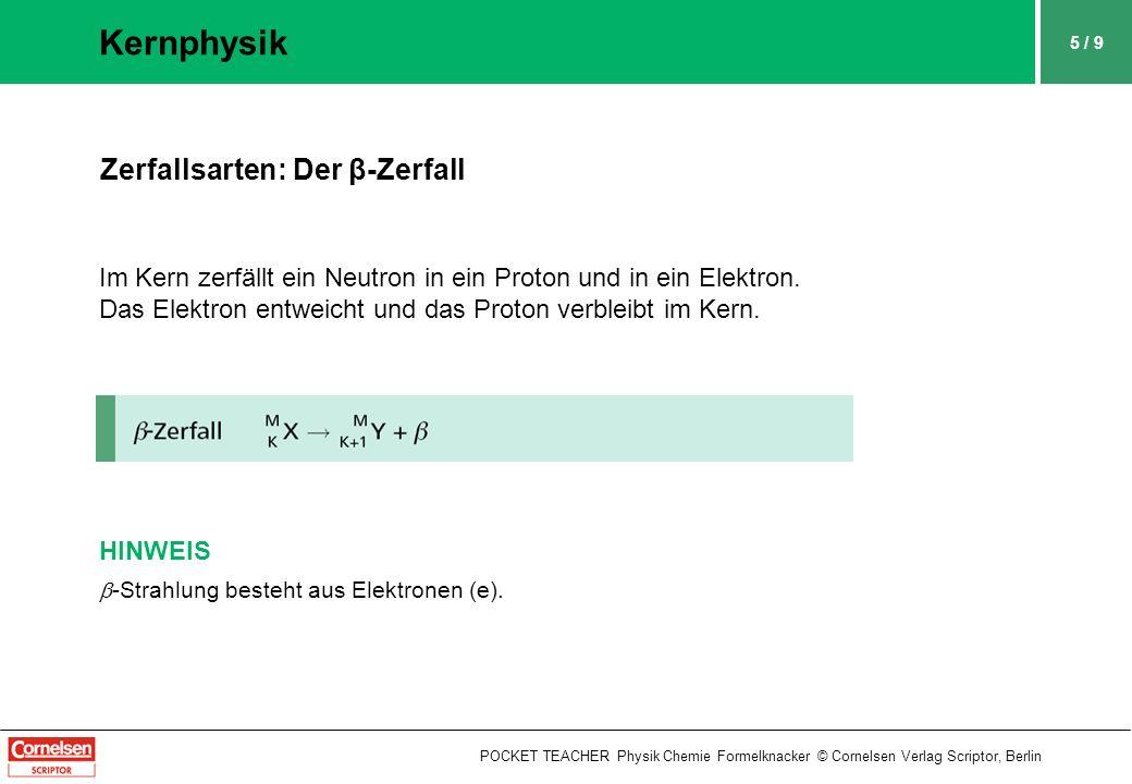 5 / 9 Kernphysik POCKET TEACHER Physik Chemie Formelknacker © Cornelsen Verlag Scriptor, Berlin Zerfallsarten: Der β-Zerfall Im Kern zerfällt ein Neutron in ein Proton und in ein Elektron.