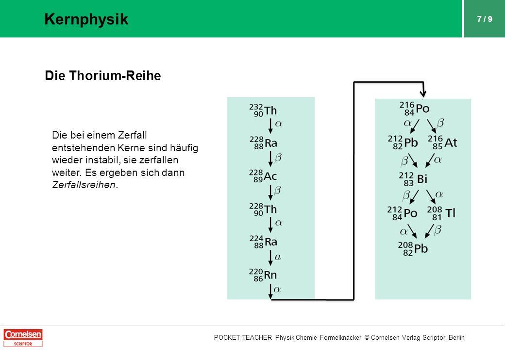 8 / 9 Kernphysik POCKET TEACHER Physik Chemie Formelknacker © Cornelsen Verlag Scriptor, Berlin Halbwertszeit T 1/2 Die Halbwertszeit ist die Zeitspanne, in der jeweils die Anzahl der radioaktiven Kerne auf die Hälfte ihres ursprünglichen Werts ab- gesunken ist.