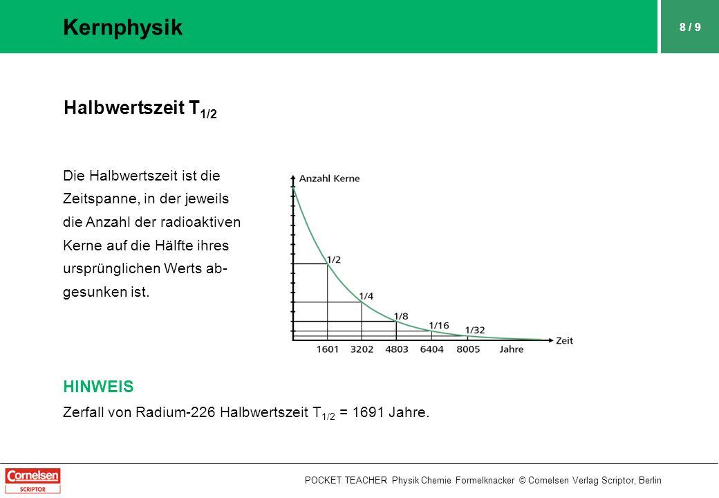 9 / 9 Kernphysik POCKET TEACHER Physik Chemie Formelknacker © Cornelsen Verlag Scriptor, Berlin Messgrößen der Radioaktivität Bq = Becquerel, Gy = Gray, Sv = Sievert