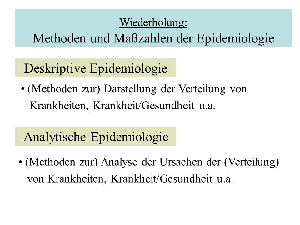 Wiederholung: Methoden und Maßzahlen der Epidemiologie Deskriptive Epidemiologie (Methoden zur) Darstellung der Verteilung von Krankheiten, Krankheit/