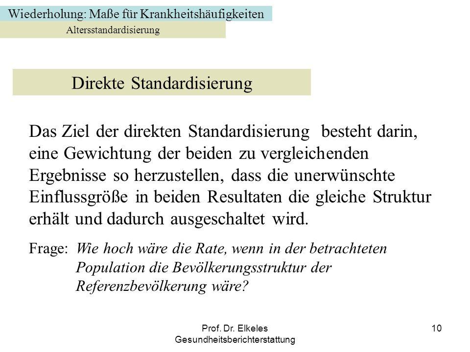 Prof. Dr. Elkeles Gesundheitsberichterstattung 10 Altersstandardisierung Direkte Standardisierung Das Ziel der direkten Standardisierung besteht darin