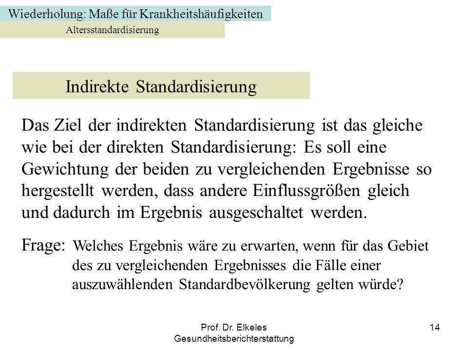 Prof. Dr. Elkeles Gesundheitsberichterstattung 14 Altersstandardisierung Indirekte Standardisierung Das Ziel der indirekten Standardisierung ist das g
