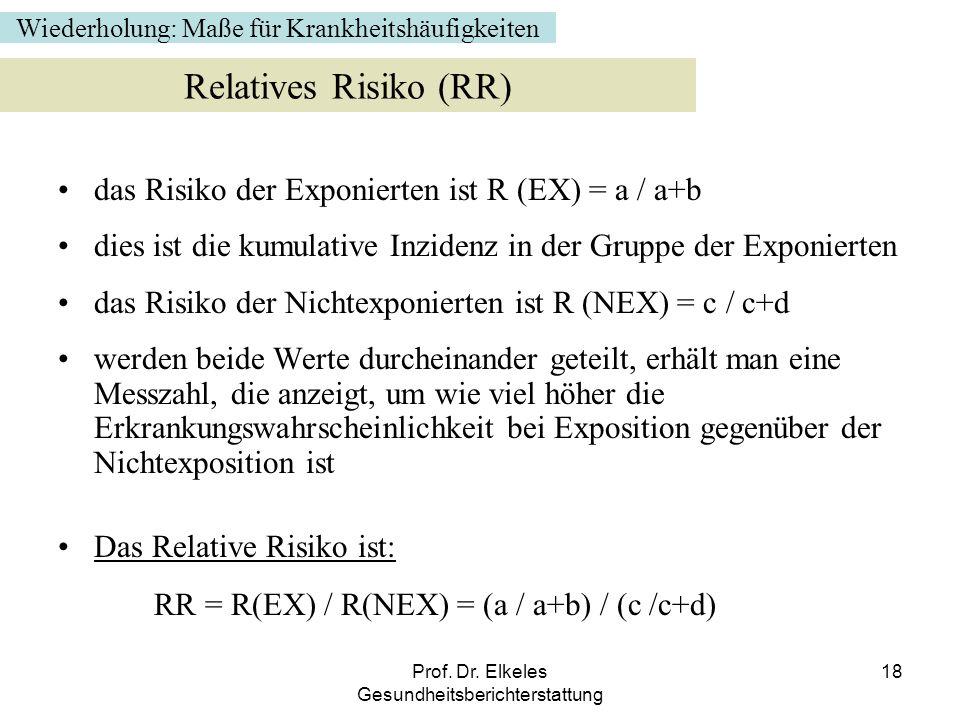 Prof. Dr. Elkeles Gesundheitsberichterstattung 18 das Risiko der Exponierten ist R (EX) = a / a+b dies ist die kumulative Inzidenz in der Gruppe der E
