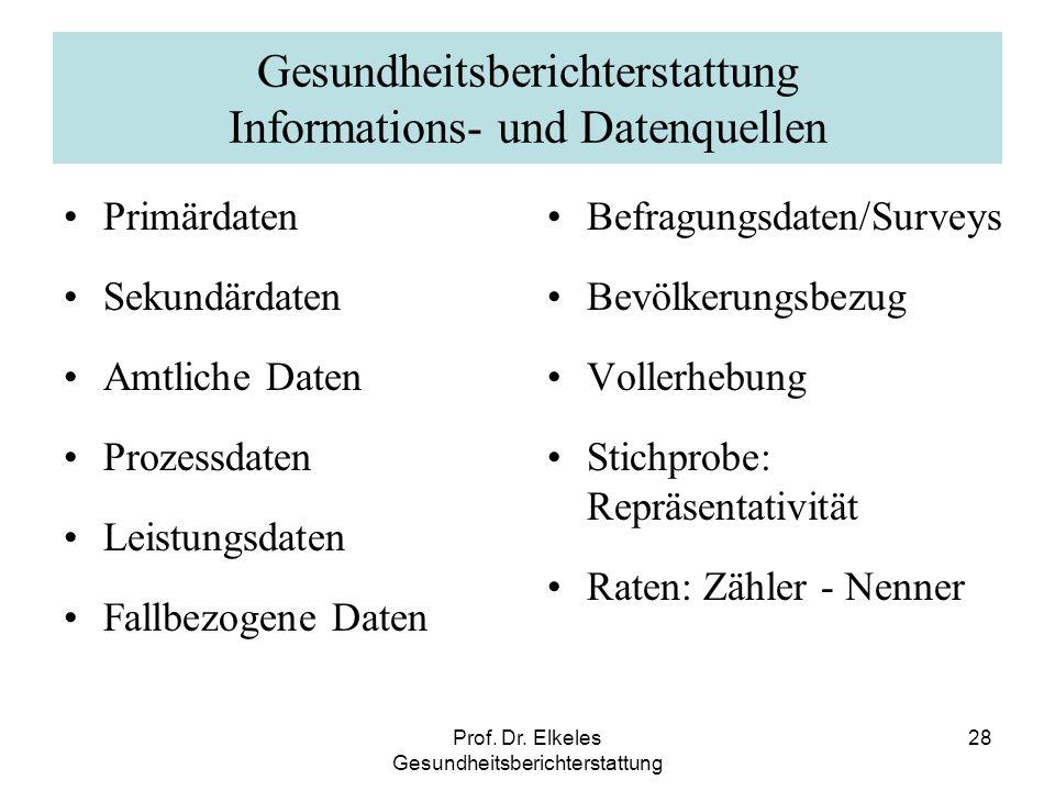Prof. Dr. Elkeles Gesundheitsberichterstattung 28 Gesundheitsberichterstattung Informations- und Datenquellen Primärdaten Sekundärdaten Amtliche Daten