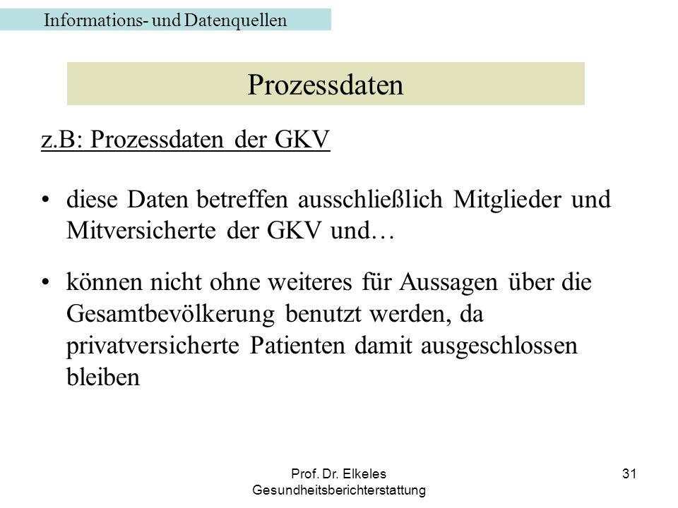Prof. Dr. Elkeles Gesundheitsberichterstattung 31 z.B: Prozessdaten der GKV diese Daten betreffen ausschließlich Mitglieder und Mitversicherte der GKV