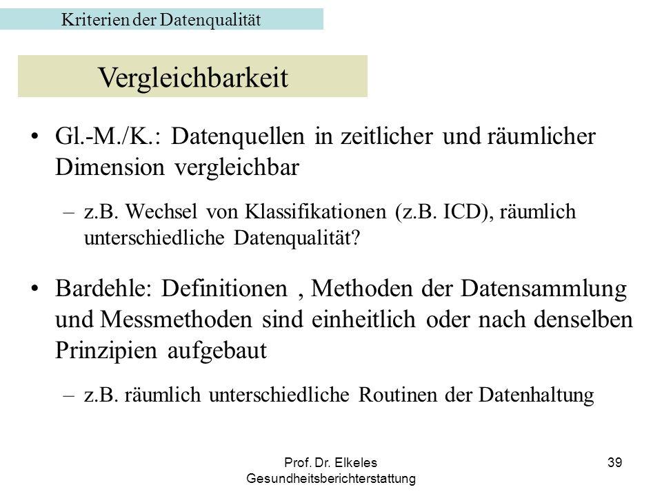 Prof. Dr. Elkeles Gesundheitsberichterstattung 39 Gl.-M./K.: Datenquellen in zeitlicher und räumlicher Dimension vergleichbar –z.B. Wechsel von Klassi
