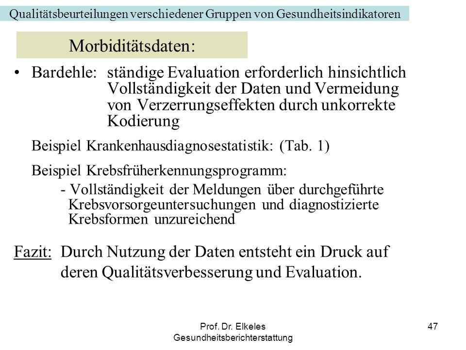 Prof. Dr. Elkeles Gesundheitsberichterstattung 47 Bardehle: ständige Evaluation erforderlich hinsichtlich Vollständigkeit der Daten und Vermeidung von