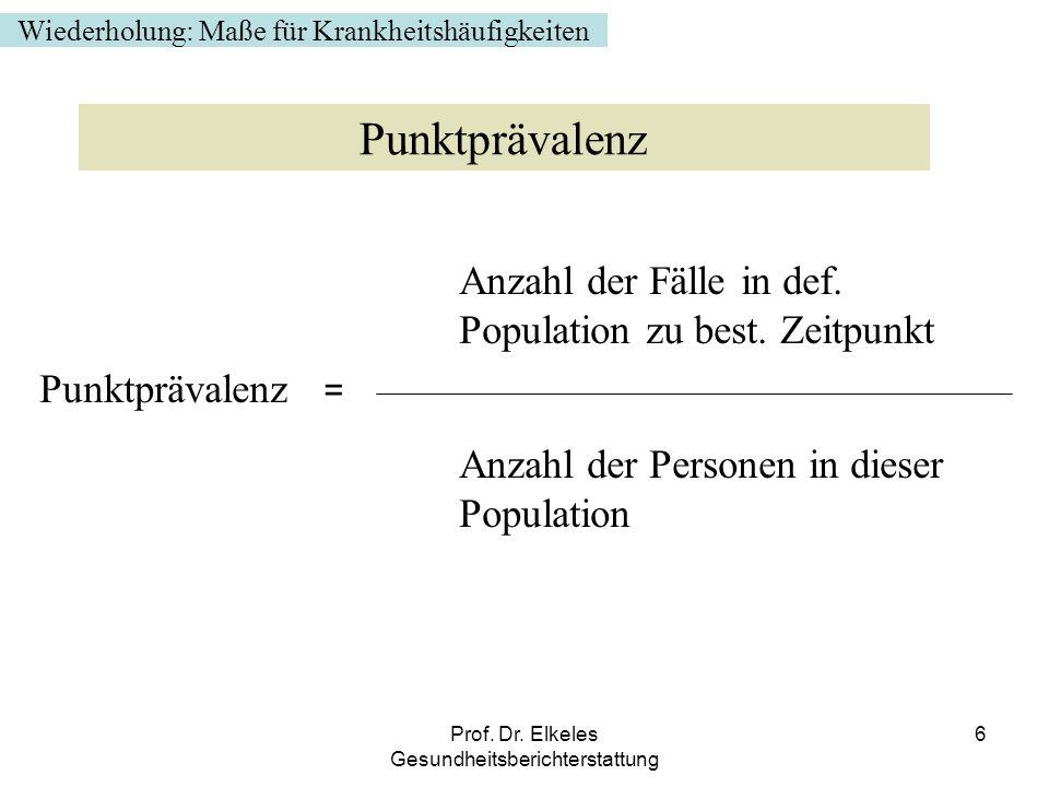 Prof. Dr. Elkeles Gesundheitsberichterstattung 6 Anzahl der Fälle in def. Population zu best. Zeitpunkt Punktprävalenz = Anzahl der Personen in dieser
