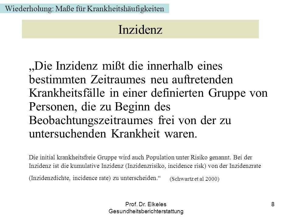 Prof. Dr. Elkeles Gesundheitsberichterstattung 8 Die Inzidenz mißt die innerhalb eines bestimmten Zeitraumes neu auftretenden Krankheitsfälle in einer