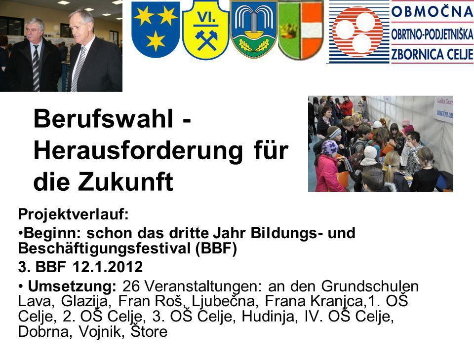 Berufswahl - Herausforderung für die Zukunft Projektverlauf: Beginn: schon das dritte Jahr Bildungs- und Beschäftigungsfestival (BBF) 3. BBF 12.1.2012